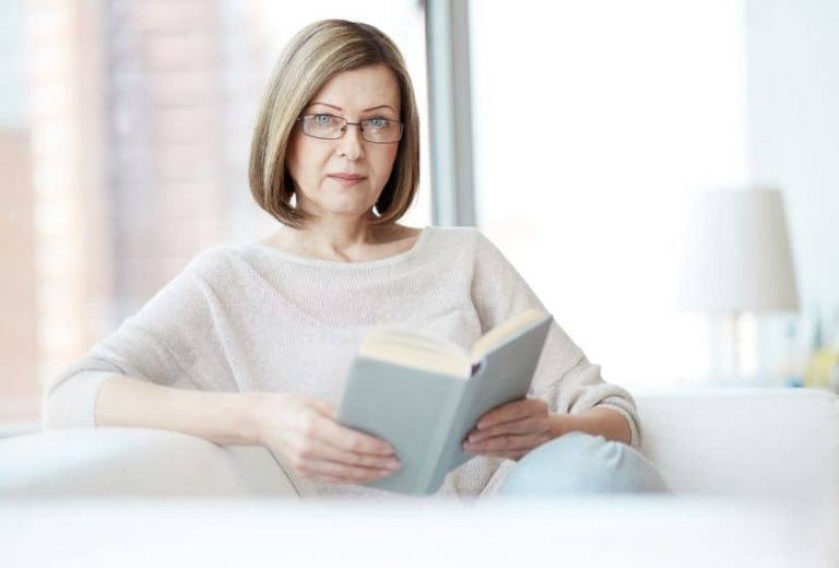 Older woman with book